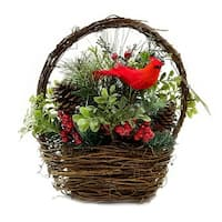 """12"""" Red Cardinal with Berries and Foliage in Twig Basket Christmas Decoration"""