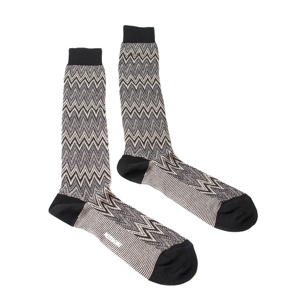 Missoni GM00CMU5242 0004 Gray/Black Knee Length Socks