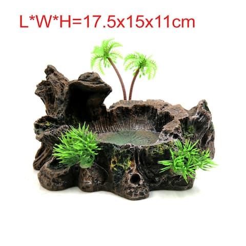 "Resin Lifelike Tree Trunk Design Food Water Bowl Terrarium Decor for Reptiles - 17.5x15x11cm / 6.89""x5.91""x4.33""(L*W*H)"