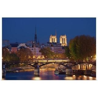 """""""France, Paris, Passerelle des Arts and Notre Dame"""" Poster Print"""