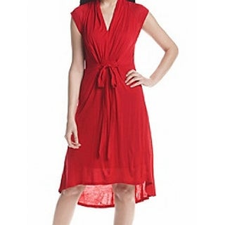 Kensie NEW Cherry Red Womens Size Small S Hi-Low Front Tie Sheath Dress