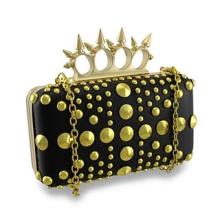 Spiked Knuckle Duster Clutch Purse Studded Evening Bag - Gold