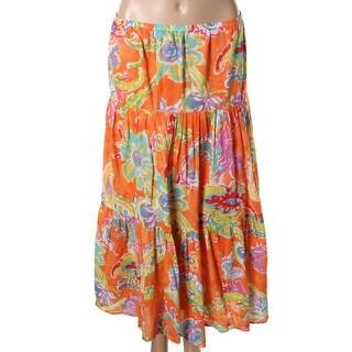 Lauren Ralph Lauren Womens Cotton Printed A-Line Skirt - L