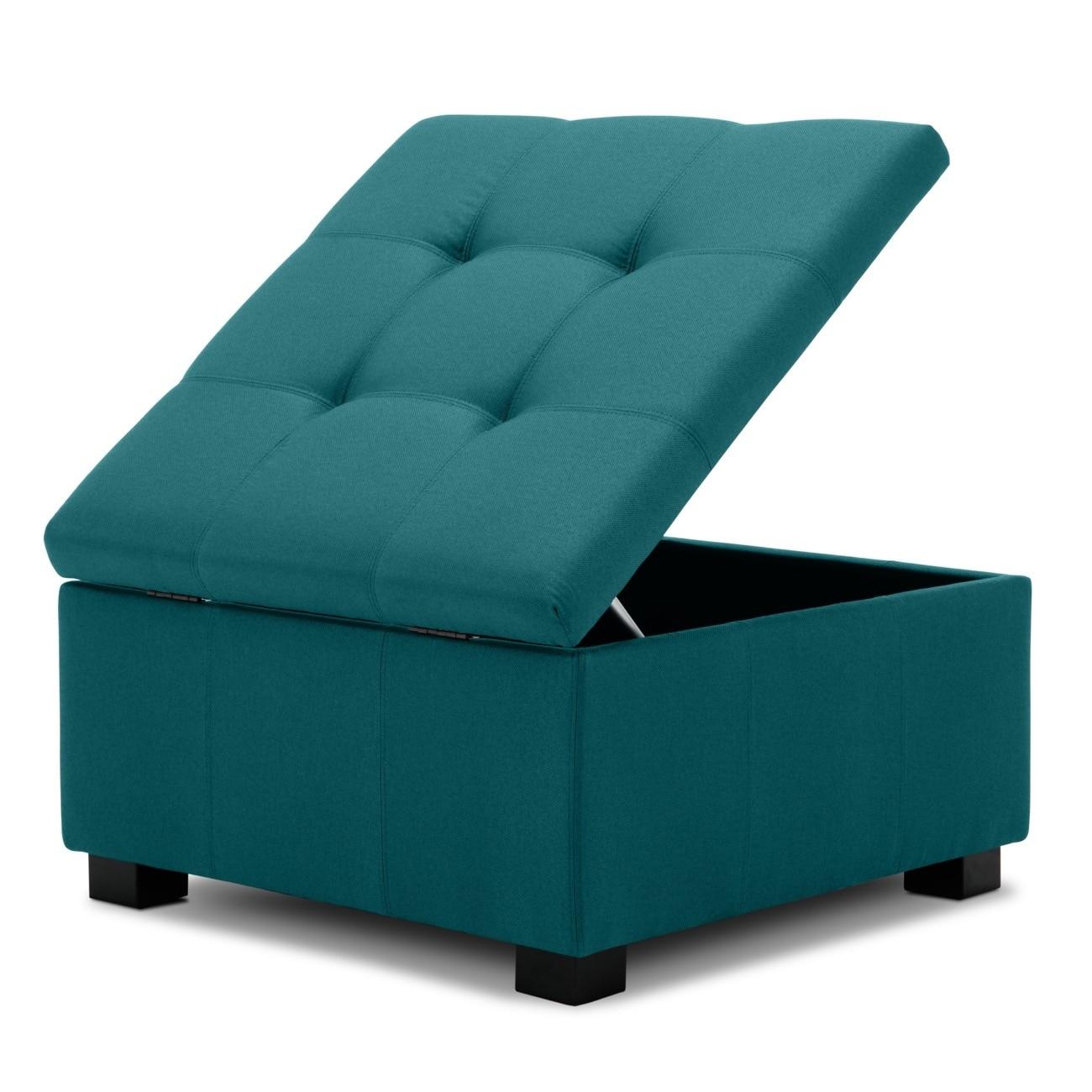 Belleze Upholstered Modern Style Living Room Bedroom Storage Ottoman Foot Bench Blue