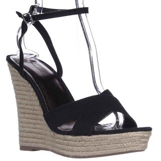 madden girl Viicki Wedge Espadrille Sandals - Black