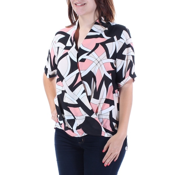 f6c71e1b9276f Shop ALFANI Womens Pink Sheer Printed Short Sleeve Collared Faux Wrap Top  Size: 6 - On Sale - Free Shipping On Orders Over $45 - Overstock - 22429742