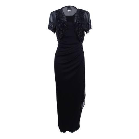 Msk Women's Embellished Shrug & Sleeveless Gown - Black