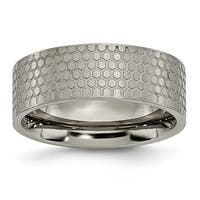 Chisel Titanium 8mm Satin Patterned Band