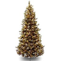 7.5' Pre-Lit Glittery Pine Artificial Christmas Tree - Clear Lights - green