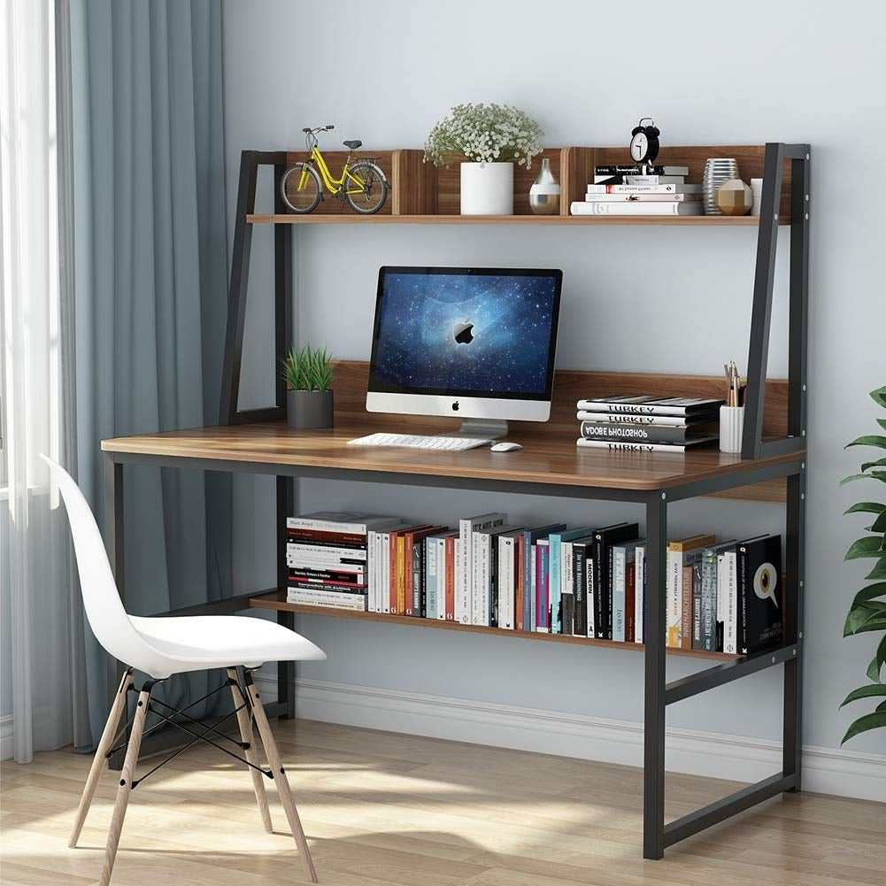Computer Desk With Hutch And Bookshelf 47 Home Office E Saving Design For Small Es Retro Brown