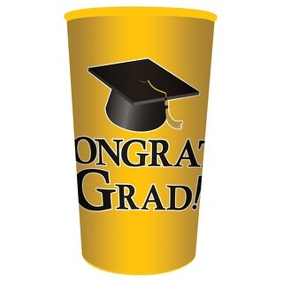 Club Pack of 20 Yellow Congrats Grad! Plastic Drinking Graduation Party Souvenir Tumbler Cups 22 oz