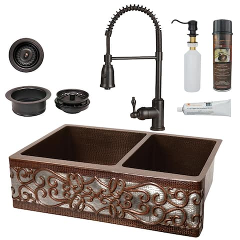 Premier Copper Products KSP4_KA60DB33229S-NB Kitchen Sink, Spring Faucet and Accessories Package