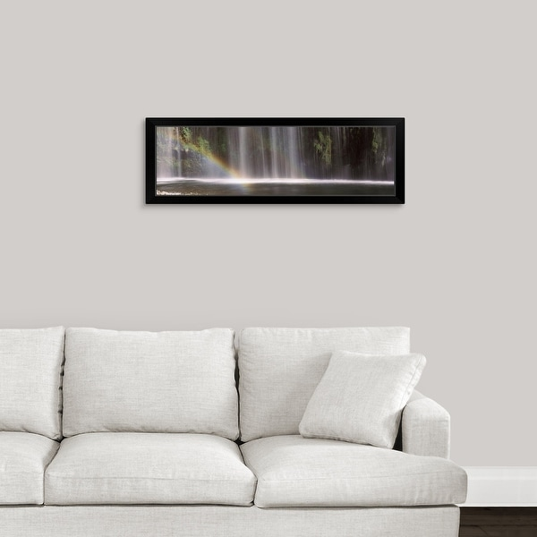 """""""Rainbow formed in front of waterfall in a forest, California,"""" Black Framed Print"""
