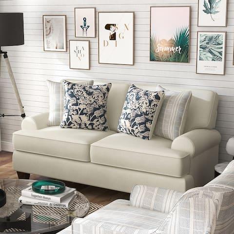 Furniture of America Chestnut Transitional Ivory Chenille Loveseat