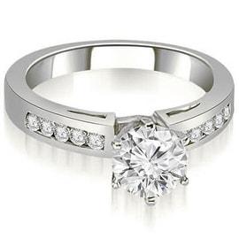 0.75 cttw. 14K White Gold Channel Set Round Cut Diamond Engagement Ring
