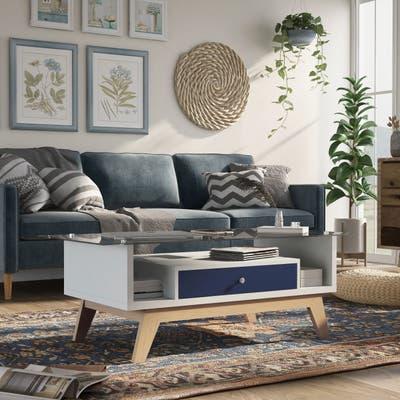 Furniture of America Tevi Mid-century Modern 47-inch 1-shelf Coffee Table