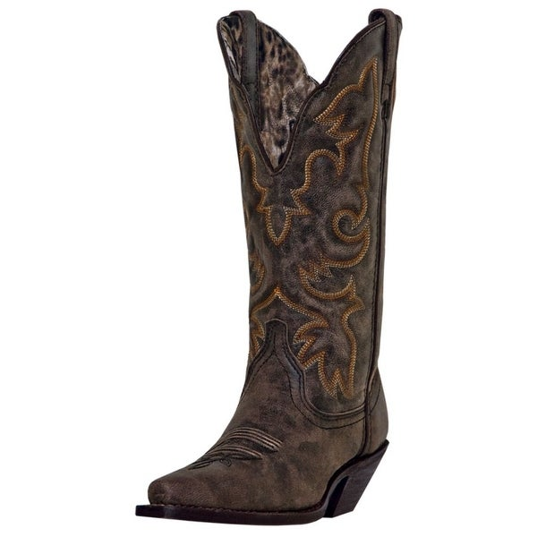 "Laredo Western Boots Womens 12"" Stitched Cowboy Access Black Tan"