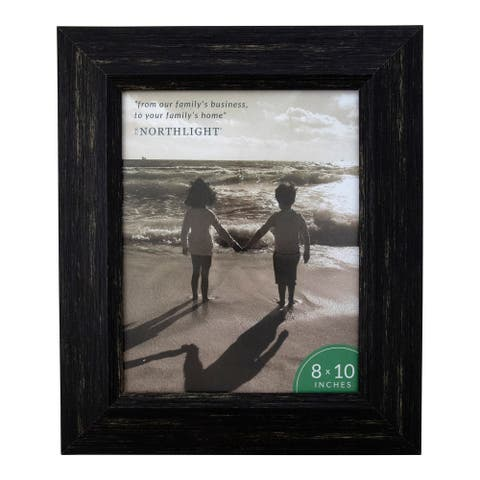 "13"" Distressed Finish Rectangular 8"" x 10"" Photo Picture Frame - Black - 8-inchx10-inch"