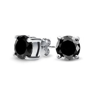 Bling Jewelry Unisex Round Black CZ Stud earrings 925 Sterling Silver 8mm