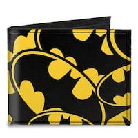 Bat Signals Stacked Yellow Black Canvas Bi Fold Wallet One Size - One Size Fits most
