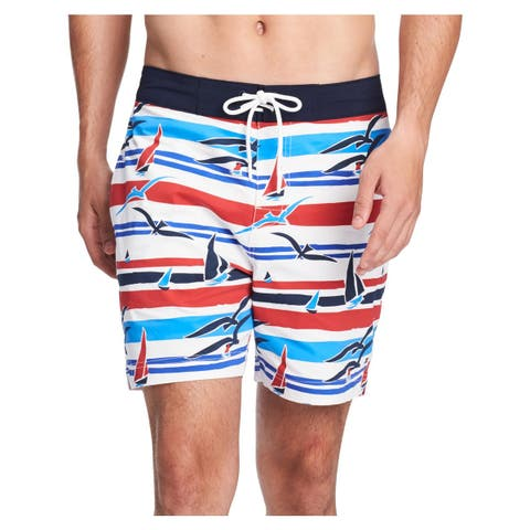 Tommy Hilfiger Mens Point Marina Printed Swim Trunks Board Shorts