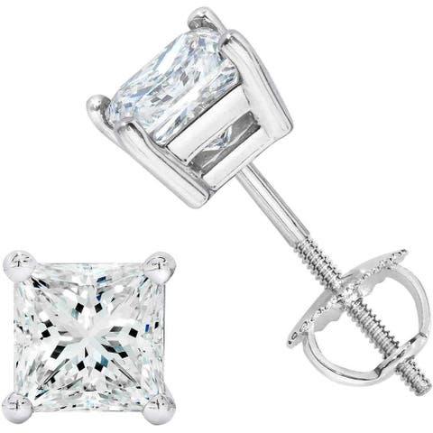 NYC Sterling Unisex Princess Cubic Zirconia Screw Back Stud Earring