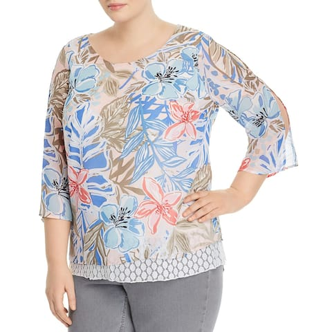 Status Womens Blouse Blue Size 2X Plus Tropical Floral Print Sheer