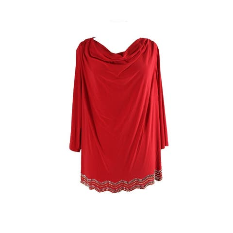 Msk Plus Size Red Beaded Cowl-Neck Top 1X