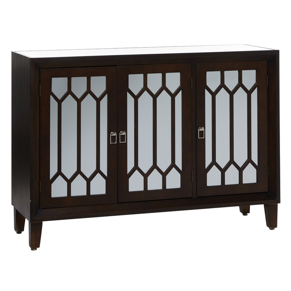 "Studio 350 Large Dark Brown Finish Vintage Cabinet w 3 Mirrored Doors 47""x 34"" - 47 x 16 x 34 (47 x 16 x 34 - Brown)"
