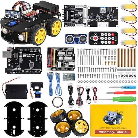 Project Smart Robot Car Kit V 3.0 Plus,Line Tracking Module,Ultrasonic Sensor,IR RemoteControletcEducationalToy Car Robotic Kit