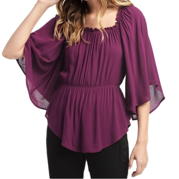 c3fd1ae2cf8 Ella Moss NEW Purple Womens Size Small S Shirred Bell-Sleeve Blouse ...