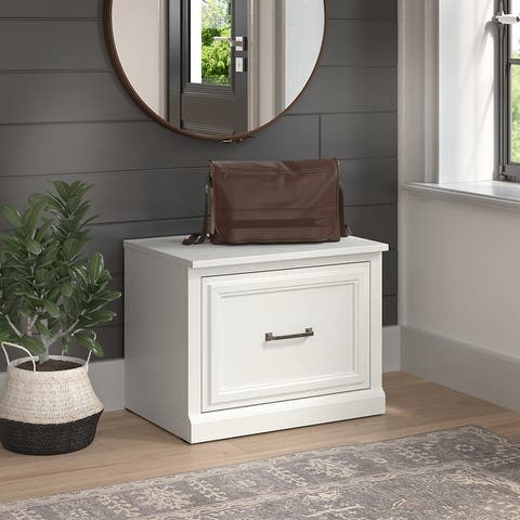 Woodland 24W Small Shoe Bench with Drawer by Bush Furniture
