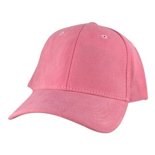 Suede Faux Mid Crown Curved Visor Velcro Adjustable Cap Hat - Pink
