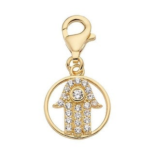 Julieta Jewelry CZ Protection Hand Gold Sterling Silver Charm