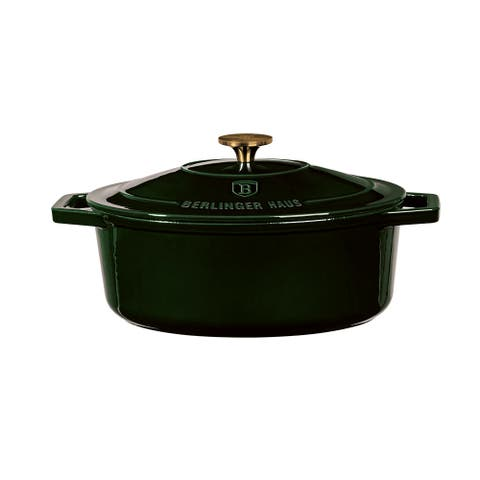 Berlinger Haus Cast Iron Oval Casserole with Enamel Coating 11.8 inches, Emerald Collection