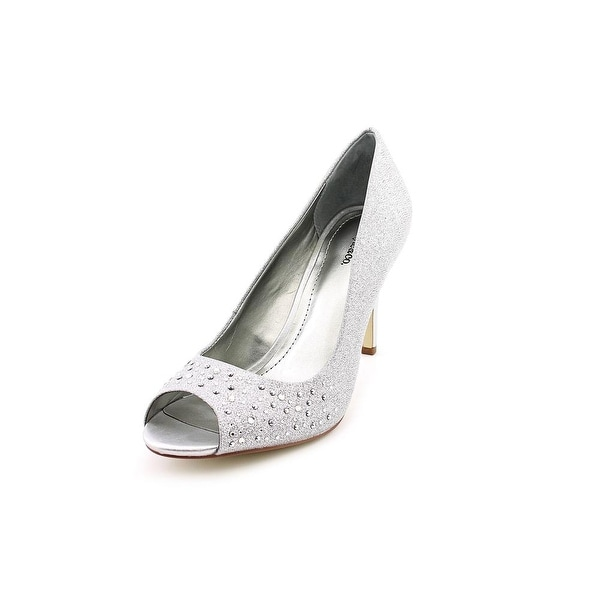Style & Co Monaee Women Peep-Toe Canvas Silver Heels