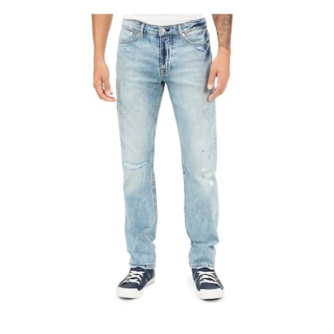 GUESS Mens Navy Straight Leg, Heather Jeans Size 30 R - 30 R