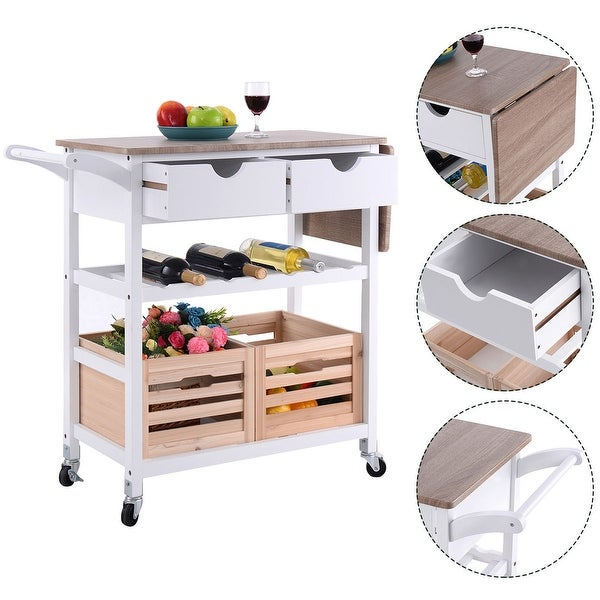 Kitchen Cart With Drawers: Shop Costway Rolling Kitchen Trolley Island Cart Drop-leaf