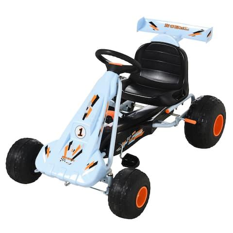 Aosom Pedal Go Kart Children Ride on Car with Adjustable Seat, Plastic Wheels, Handbrake and Shift Lever, Light Blue