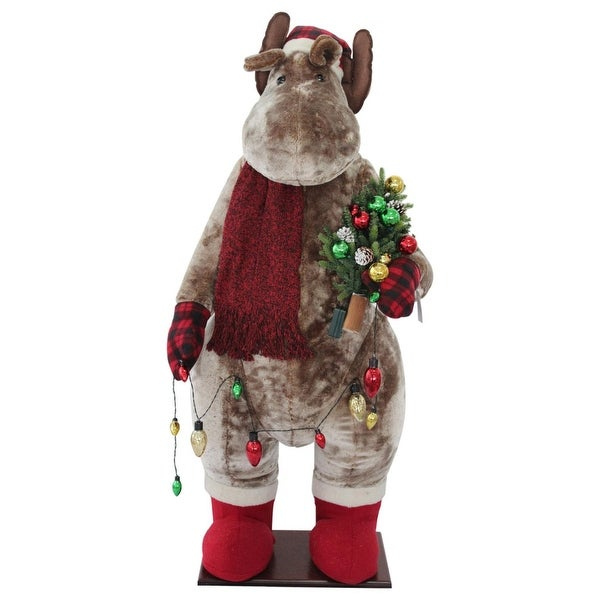 "60"" Red and Tan Christmas Moose Inflatable"