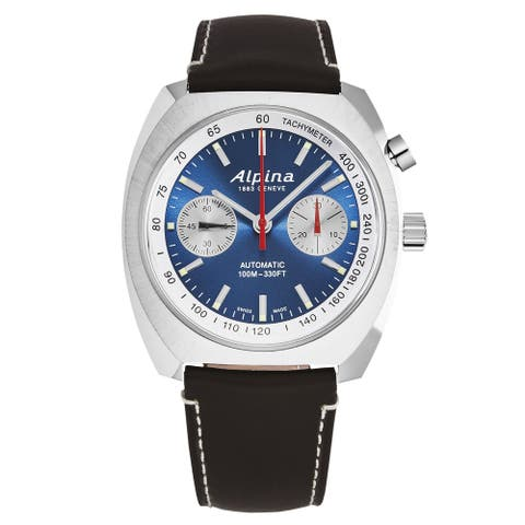 Alpina mens 'startimer pilot' monopusher blue dial brown leather automatic watch al727lns4h6
