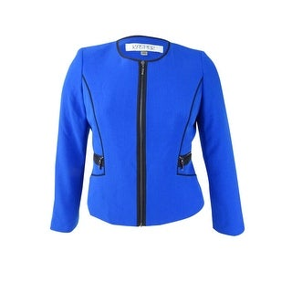 Kasper Women's Petite Stretch-Crepe Piped Jacket - celeste/black