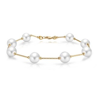 Bling Jewelry 14K Yellow Gold Bar Link White Freshwater Cultured Pearl Bridal Bracelet (Option: 8 Inch)