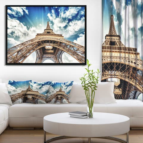 Designart 'Paris Eiffel Towerwith Fast Moving Clouds' Photography Framed Canvas Art Print
