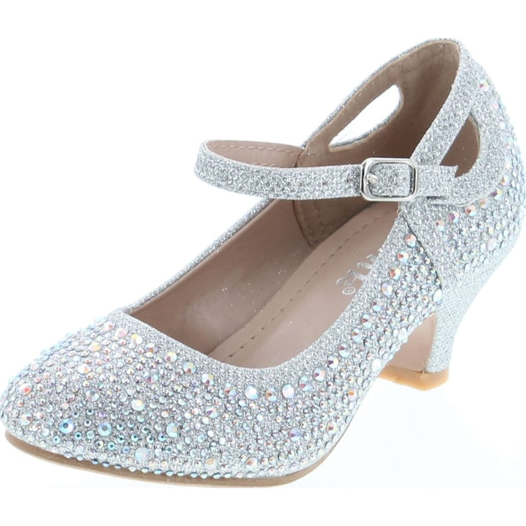 Link Jemma-01K Girls Rhinestone Platform Peagent Dress Shoes