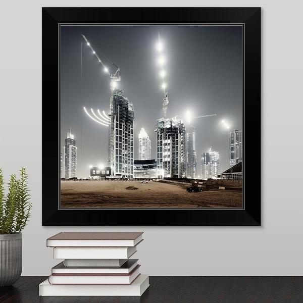 """Dubai building yard at night, United Arab Emirates"" Black Framed Print"