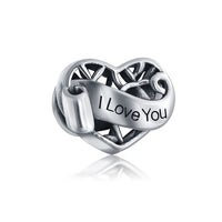 24011c238 I Love You Words Heart Shaped Open Filigree Charm Bead For Women For  Girlfriend Sterling Silver