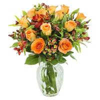 KaBloom: Precious Love Bouquet of Beautifully Accented Roses and Alstroemerias with Vase