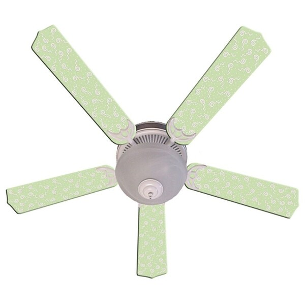 Light Green Swirly Dot Designer 52in Ceiling Fan Blades Set - Multi