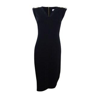 Calvin Klein Women's Embellished Shoulder Sheath Dress